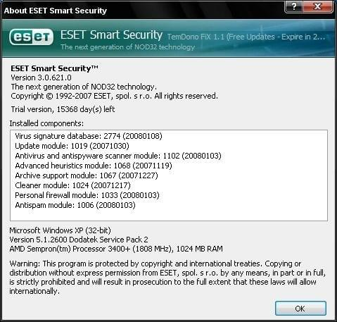 ESET Smart Security 3 0 621 0 [ENG] [FiX 1 1] [ preview 1