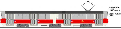 Konstal 102N #2002 - Starsza wersja 102. Ma inny kąt nachylenia szyby, przez co zmieniono ją na taką, jak w 102Na.