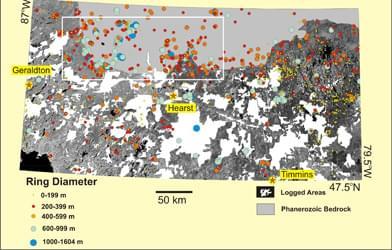 Rozmieszczenie kręgów leśnych w Ontario, gdzie znajduje się ich największe na świecie skupisko (za: CBS news)