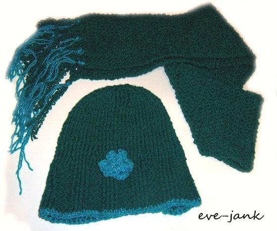 czapka i szalik zrobiona na drutach